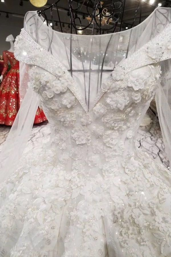 Ball Gown Wedding Dresses Royal Train Bateau Top PTE4EP36