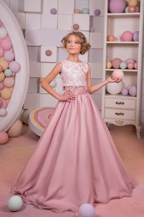 Two-Piece Scoop Chiffon & Lace A Line Flower Girl Dresses PBMHNABG