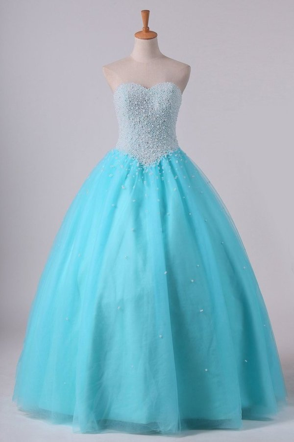 Ball Gown Sweetheart Quinceanera Dresses With Pearls & Rhinestones P8TEXP9C
