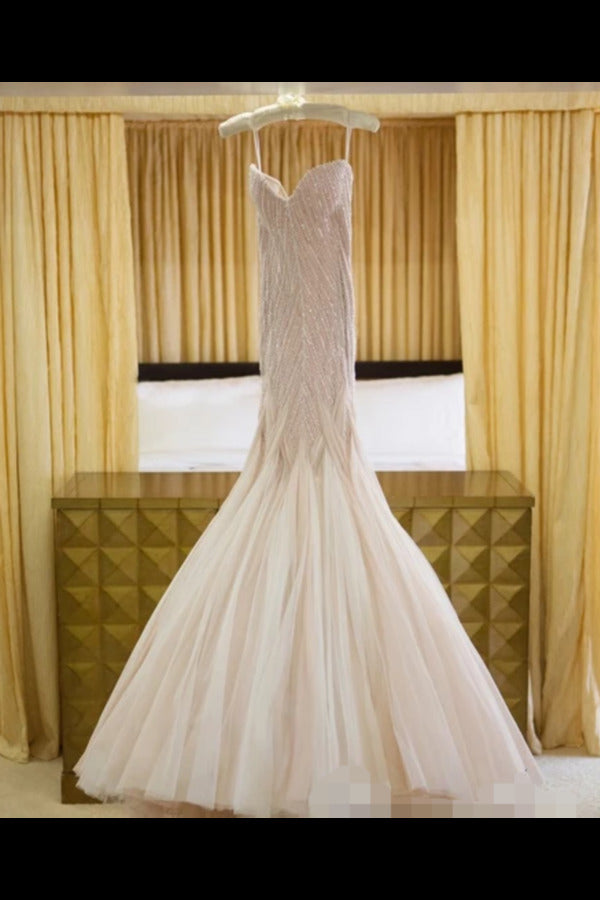 Sexy Sequins Mermaid Wedding Dress With Ruffles Luxurious Champagne PHXC752K
