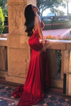 Chic Red Spaghetti Straps Mermaid V Neck Prom Dresses with Appliques, Formal Dresses STI15571