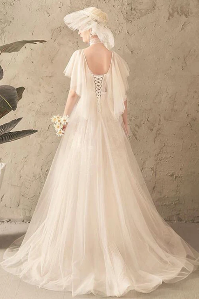 Unique Tulle Lace Long Wedding Dress Ivory Short Sleeves Lace Up Back Bridal STIPK2YQ77B