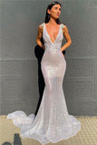 Sexy Deep V Neck Sequined Prom Dresses, Stunning Backless Mermaid Evening Dresses STI15595