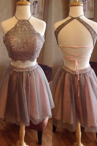 Short Two Pieces Open Back High Neck Sleeveless Homecoming Dress Graduation Dress