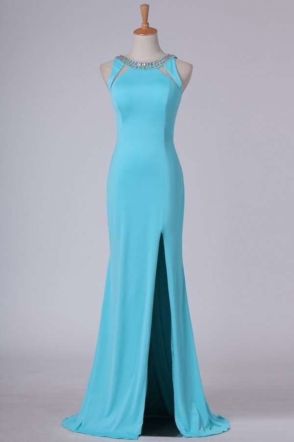 Sexy Open Back Scoop With Beads And Slit Prom Dresses PDGFFLZ5