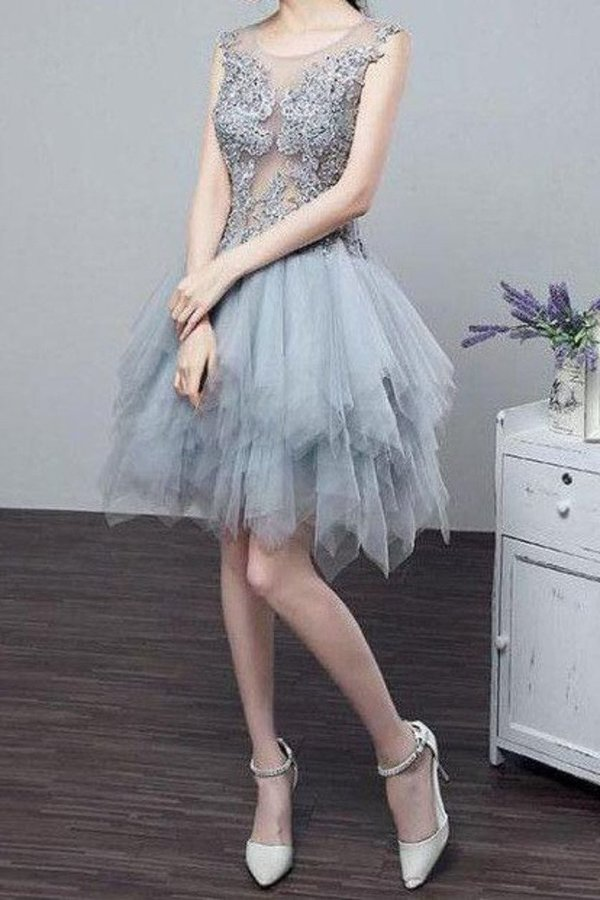 See-Through Homecoming Dresses A Line Scoop PP9X1BFZ