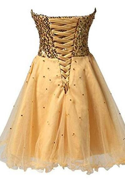 Short Tullle Sequins Homecoming Dress Prom Gown STI13820