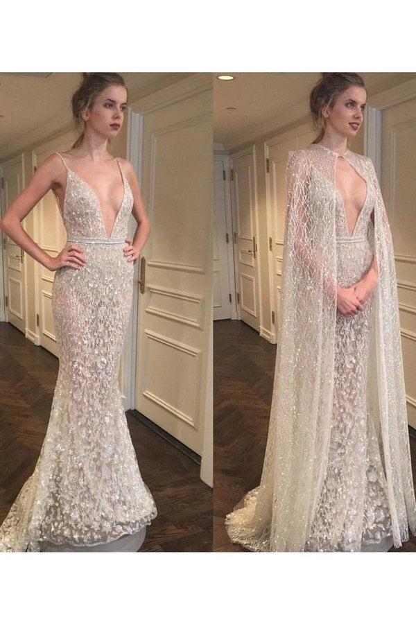 Spaghetti Straps Wedding Dresses Mermaid Lace With P8AT1M18