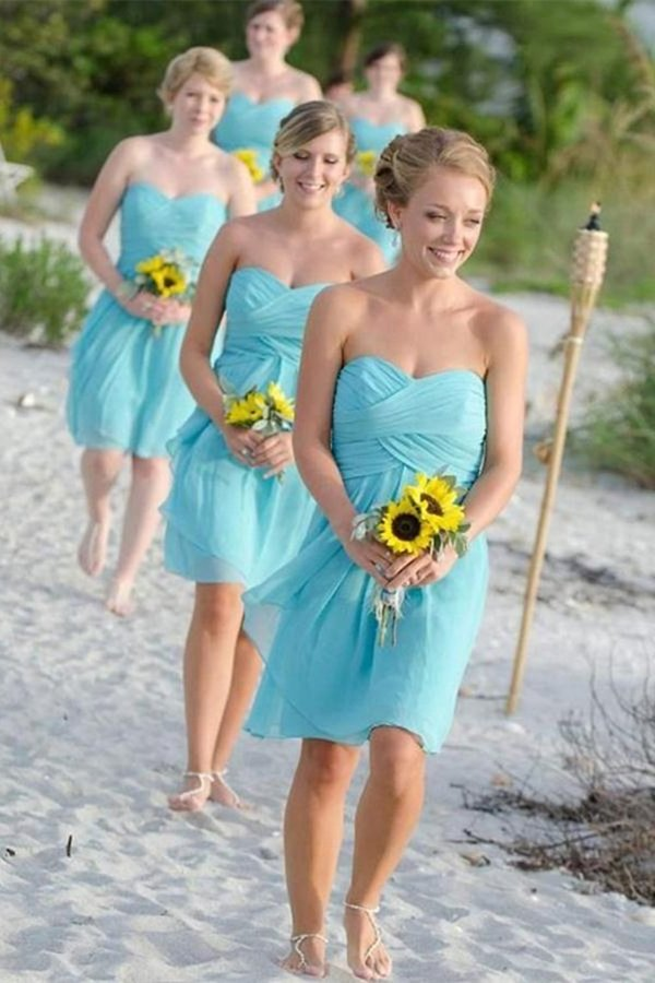 Simple Short Chiffon Open Back Bridesmaid Dresses P3X38XSC