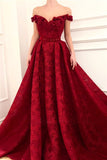 Charming Red Lace Off the Shoulder Prom Dresses, V Neck Handmade Flowers Party Dresses STI15121