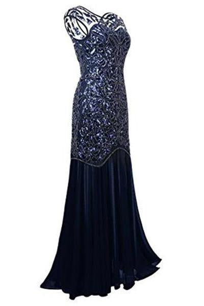 Navy Blue Sequin Gatsby Maxi Long Evening Prom Dresses