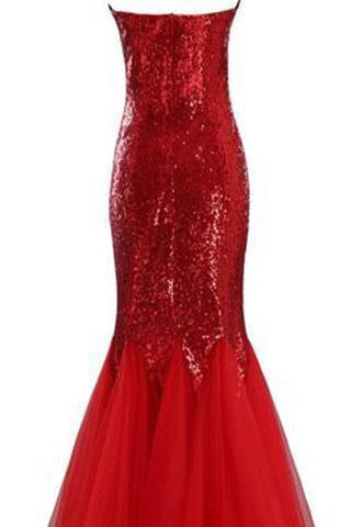Largos Sparkly Mermaid Strapless Trumpet Fitted Tulle Sequin Long Prom Dresses