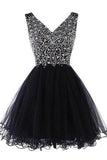 Sparkly Classy Short Sleeveless Cute V-Neck Beaded Tulle Crystals Homecoming Dresses