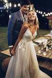 Sleeveless Spaghetti Strap V Neck Beach Wedding Dresses Backless Summer PCX2BSRC