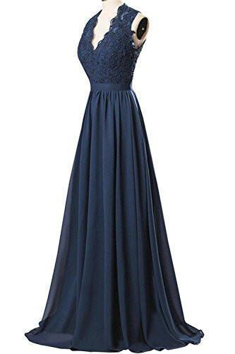 V-neck Long Chiffon open Back Bridal Prom Evening Dress