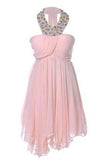 Sweetheart Pretty Short Halter Jewel Bead Prom Dresses Uneven Hem Party Dresses
