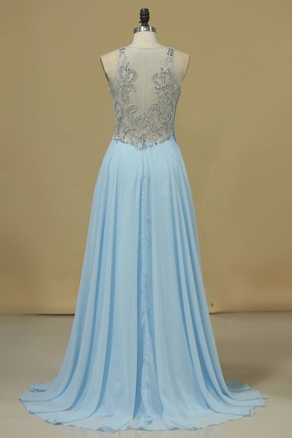 Chiffon & Tulle V Neck Prom Dresses Beaded Bodice A PR7PZBST
