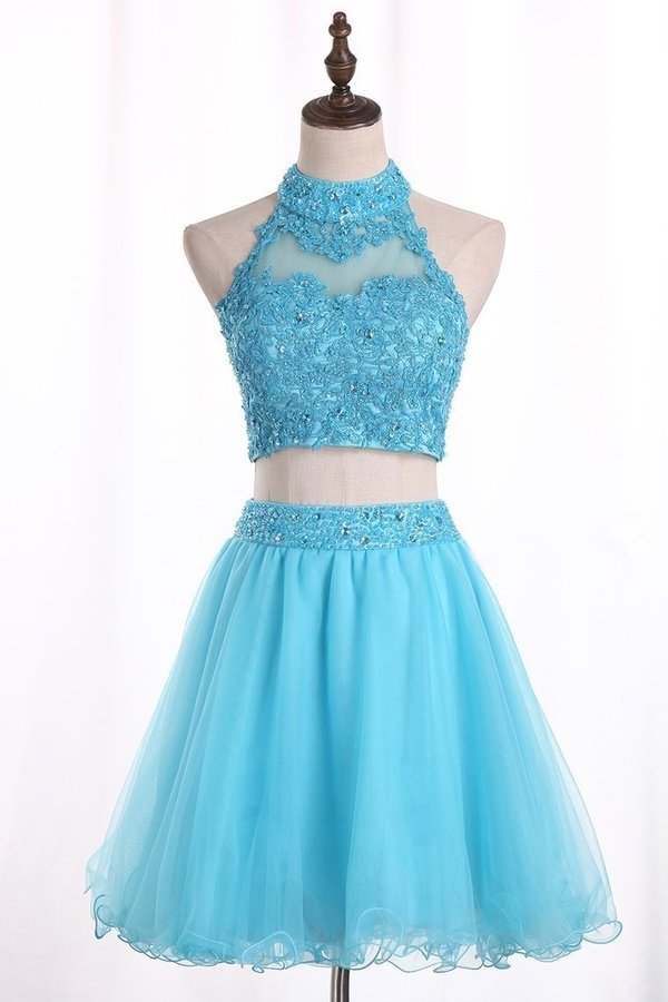 Two Pieces Homecoming Dresses A Line Tulle With Beading P96XNDZ9