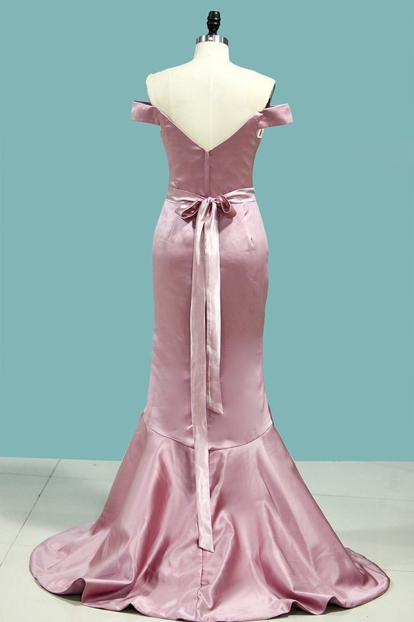 Bridesmaid Dresses Mermaid Off The Shoulder Satin PZHH3SRD