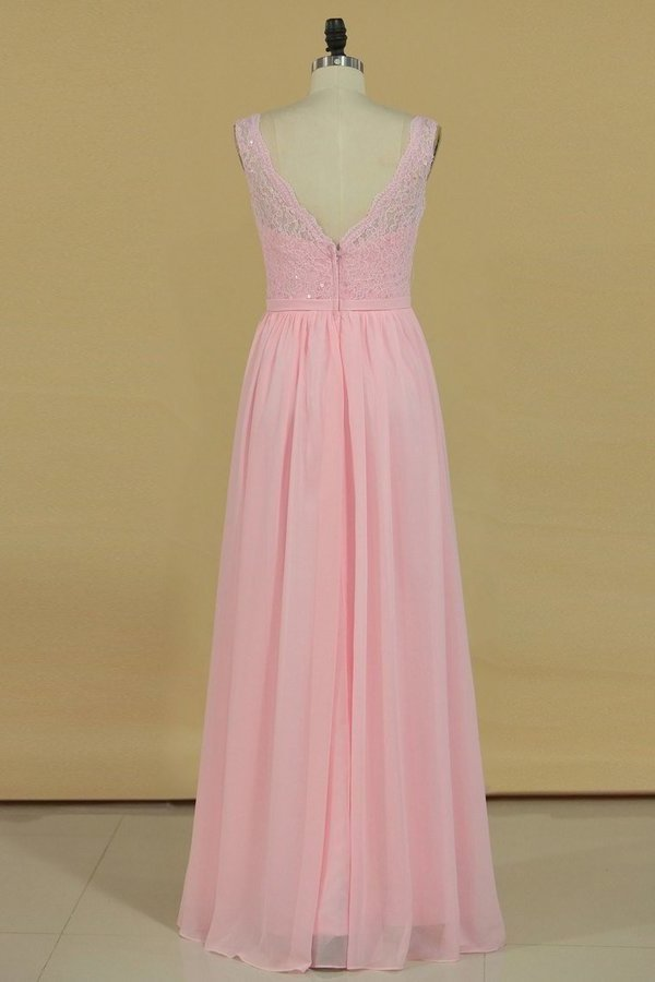 Bridesmaid Dresses V Neck A Line Chiffon With Beads Floor PFH8TSXX