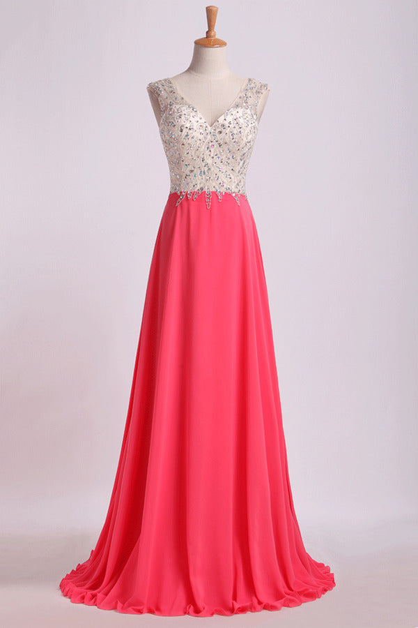 V Neck Beaded Bodice Prom Dresses A Line Sweep P91KGMSF