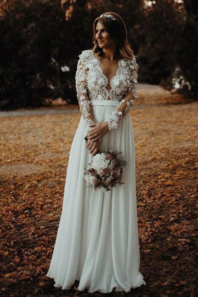 Floor Length Long Sleeves Sheer Neck Split Appliques Chiffon Beach Wedding STIPXDZQFST
