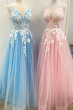 New Spaghetti Strap Floor Length A Line Tulle Prom Dress With Appliques Formal STIP3CZ9RMF