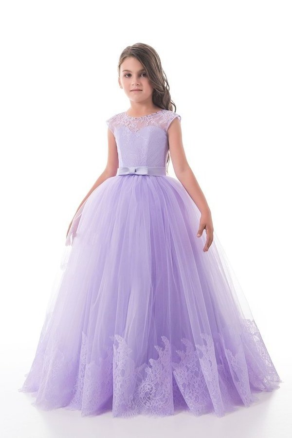 Scoop With Applique And Sash Tulle A Line Floor Length P1HF2R2K