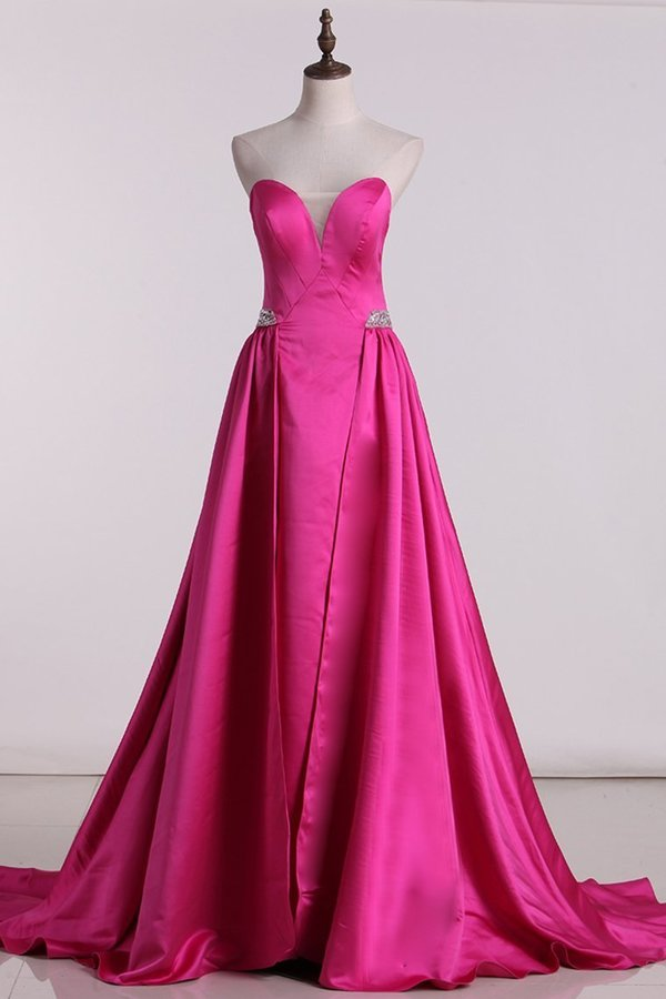 Sweetheart Prom Dresses Satin With Ruffles P21PAKY3