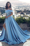 A Line Off The Shoulder Prom Dresses Satin PSEP7KYD