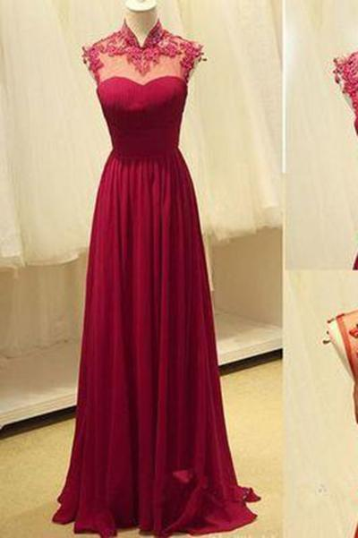 Long Prom Dresses Open Backs Formal Dresses A-line Wine Red Prom Dresses