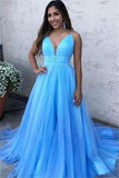 A Line Sky Blue Spaghetti Straps V Neck Tulle Prom Dresses, Cheap Evening Dresses STI15554