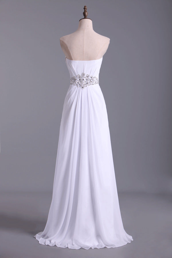 Sweetheart Chiffon Floor Length A Line Prom Dress PP8K95RH