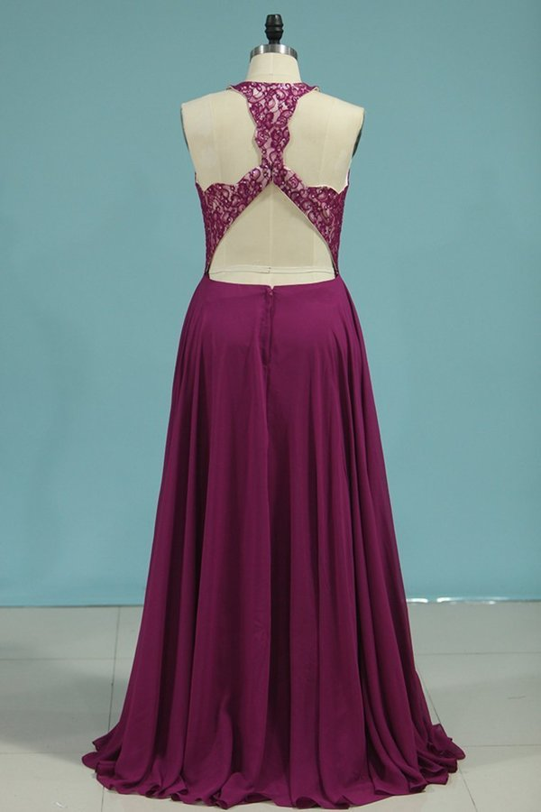 Sexy Open Back Scoop Chiffon & Lace A P72T99SL