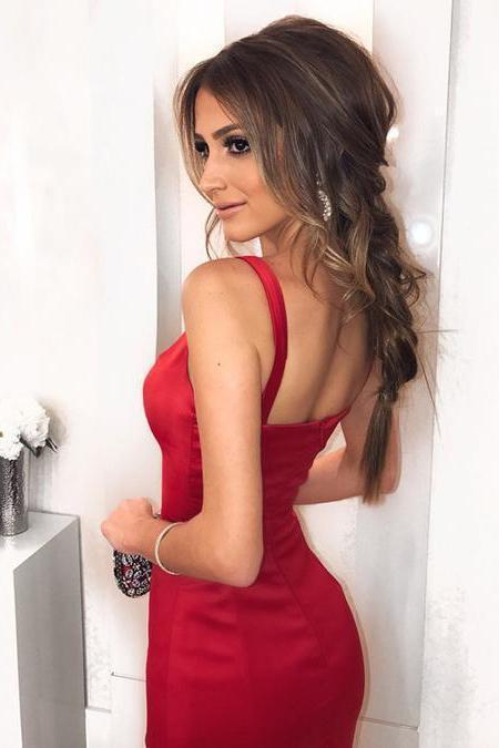 Sexy Low Neck Dark V-Neck Backless Red Satin Mermaid Long Custom Prom Dresses
