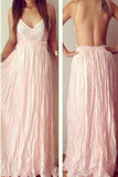 Sexy Backless V-Neck Spaghetti Straps Lace Prom Dresses Chiffon Blush Pink Prom Dresses