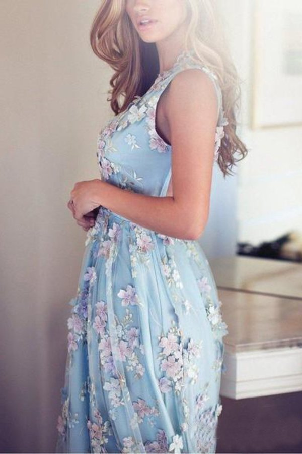 Sky Blue Prom Dresses See Through Embroidery Formal PCJCN467