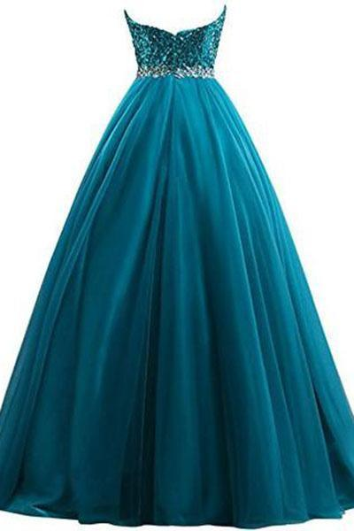 Sweet 16 Tulle Sequin Ball Gown Prom Dresses for Quinceanera