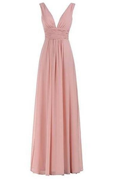 Sexy V-Neck Ruched Waist Long Prom Evening Gown Bridesmaid Dress