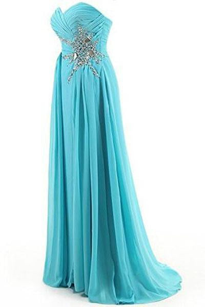 Sweetheart Beading Floor-length Chiffon Prom Dress Evening Gown