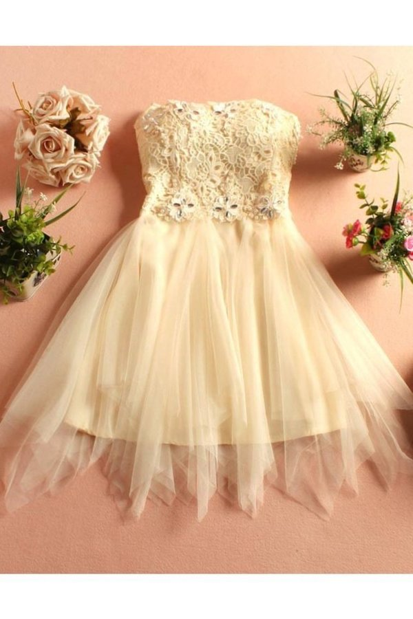 Strapless Homecoming Dresses A Line Tulle & PQZNHA54
