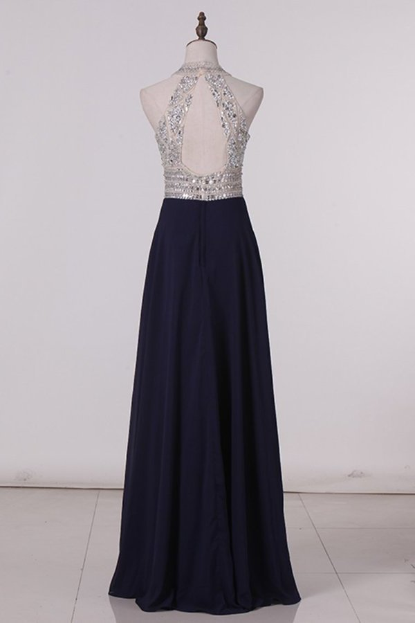 Scoop Prom Dresses Chiffon With Beading A PX8Y5QG8