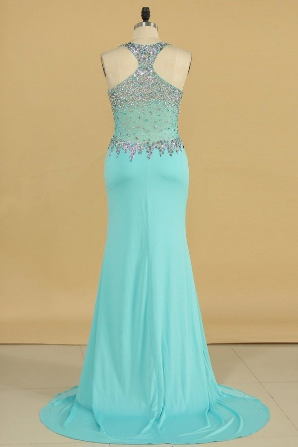 V Neck Beaded Bodice Sheath Sweep Train Spandex P6DH5246