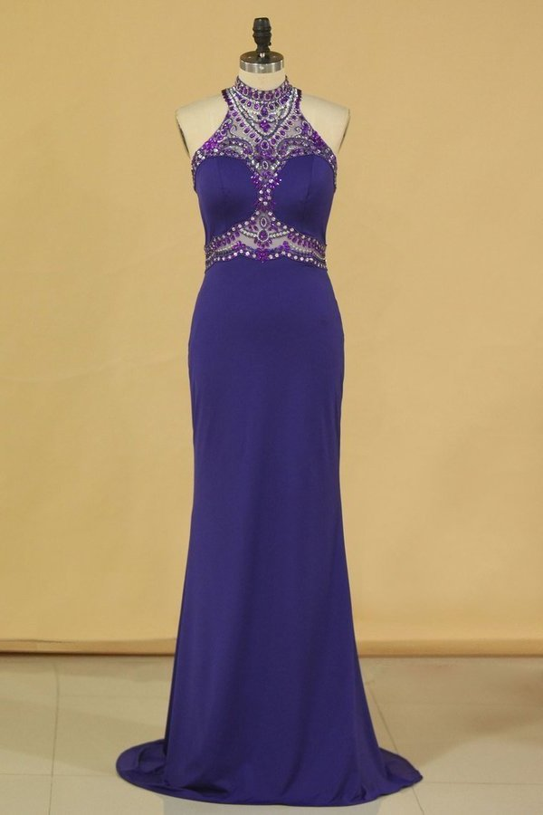 Spandex High Neck Sweep Train Prom Dresses With Beading PHGP351H