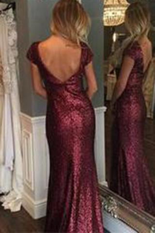 Short Sleeve Mermaid Sexy Pretty Women Sequin Custom Make Long Cheap Prom Dresses