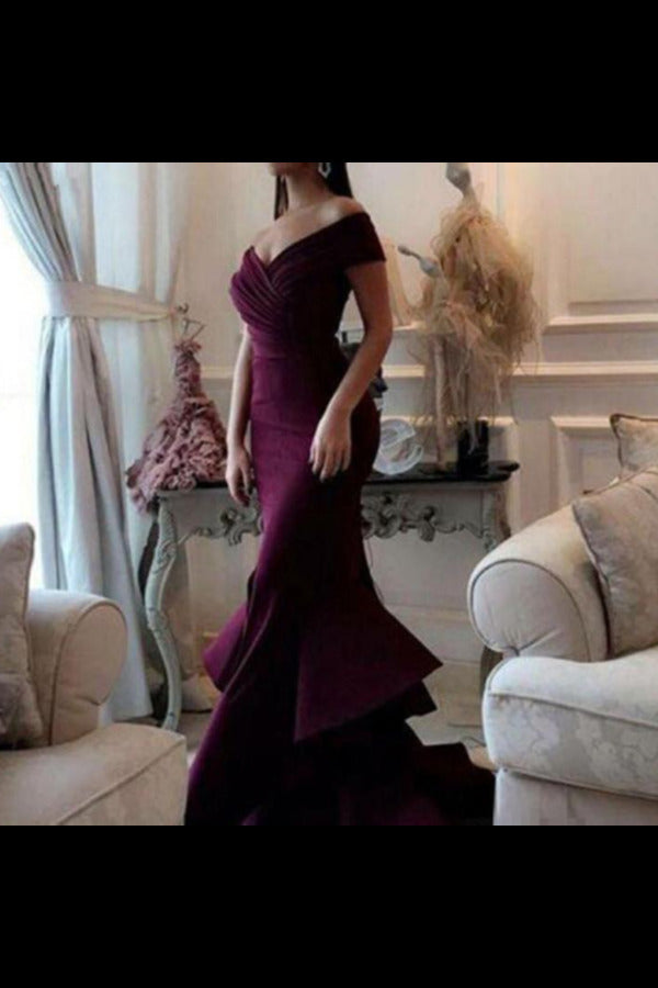 Unique Mermaid Off The Shoulder Ruffled & Split Burgundy Chiffon Long Prom Dresses PT3KNXBR