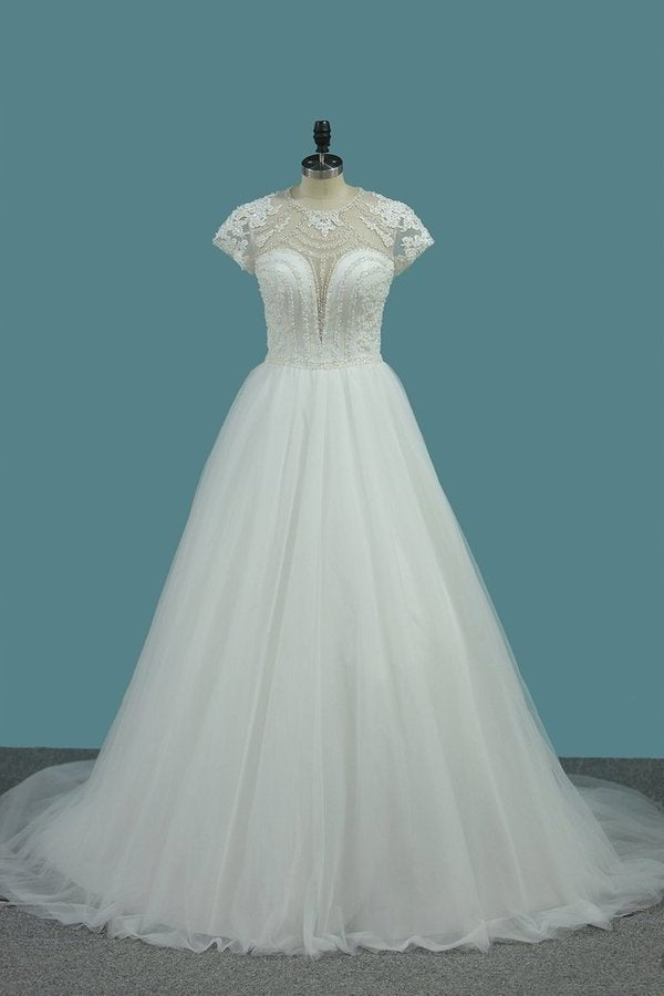 Tulle A Line Scoop Short Sleeve Wedding Dresses With Applique And P43RSC6Z