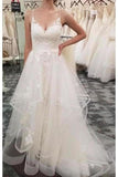 Spaghetti Straps Tulle Beach Wedding Dress With Lace Appliques Long PNQBK4S8