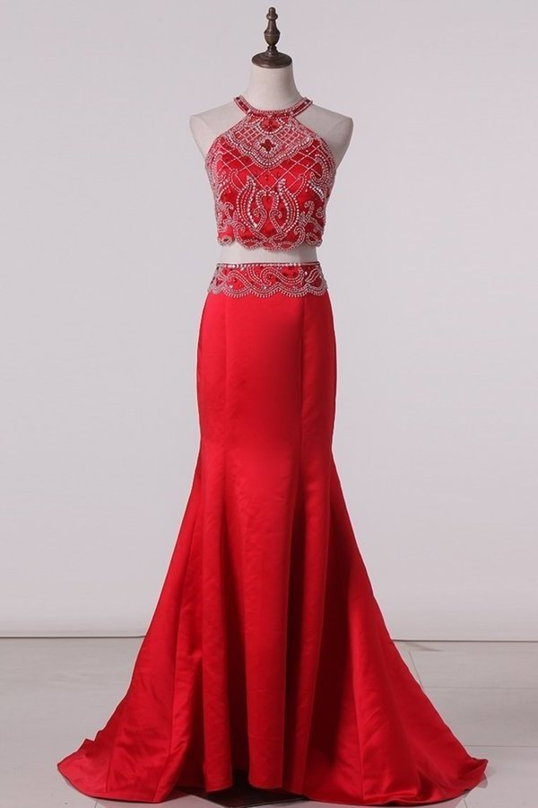 Two-Piece Scoop Prom Dresses Mermaid Satin PM8Z71ZK