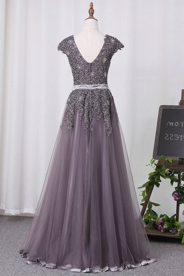 Scoop Tulle Prom Dresses With Applique PHFRHR87